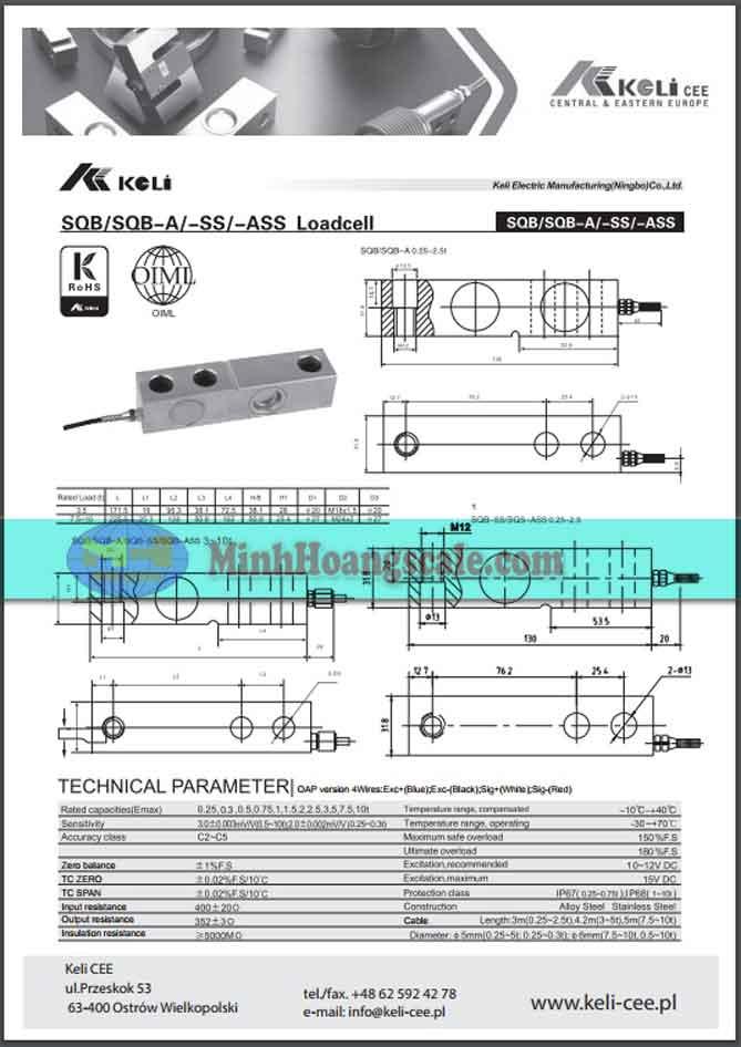 datasheet loadcell sqb