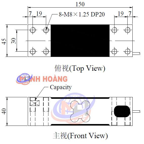 Kích thước load cell NA4 Mavin